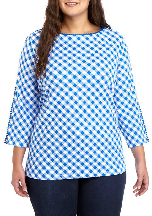 Kim Rogers® Plus Size Pom Trim Print Top