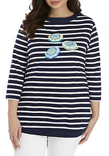 Kim Rogers® Plus Size 3/4 Sleeve Boat Neck Stripe Top