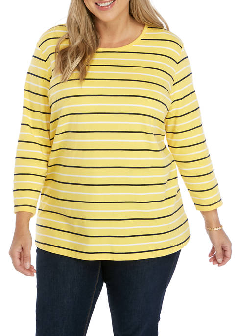 Kim Rogers® Plus Size 3/4 Sleeve Crew Neck
