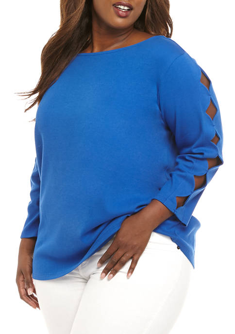 Kim Rogers® Plus Size 3/4 Scallop Sleeve Solid