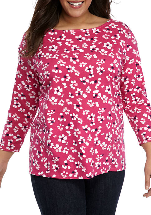 Plus Size Scallop Sleeve Printed Top