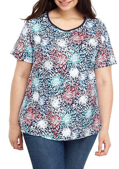 Kim Rogers® Plus Size Short Sleeve Firework T
