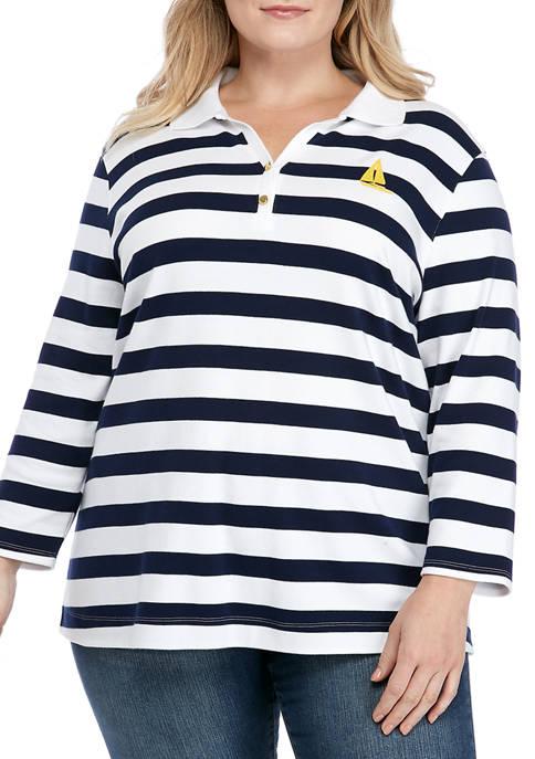 Kim Rogers® Plus Size Quarter Sleeve Polo Shirt