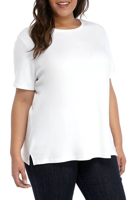 Plus Size Short Sleeve Solid T-Shirt