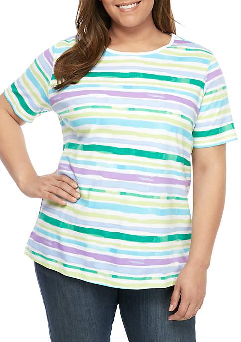Kim Rogers® Plus Size Short Sleeve Bayside Stripe