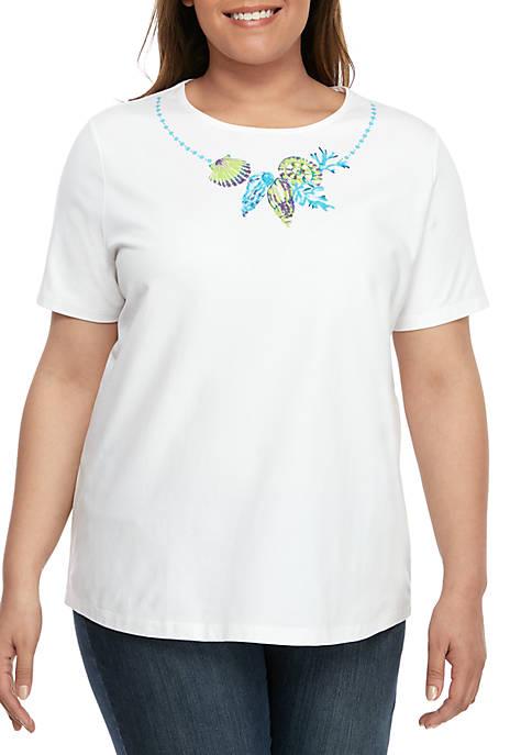 Plus Size Short Sleeve Seashell T Shirt