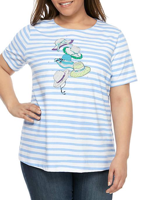 Kim Rogers® Plus Size Short Sleeve Stripe T