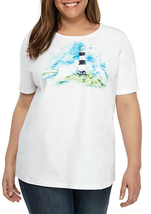 Kim Rogers® Plus Size Short Sleeve Lighthouse T