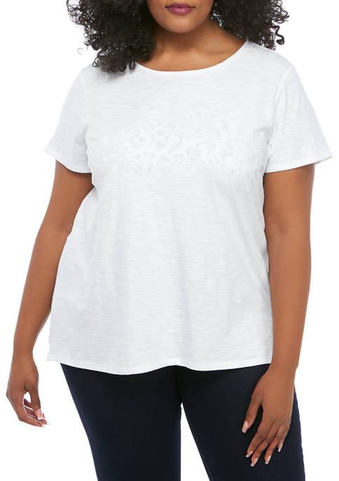Kim Rogers® Plus Size Short Sleeve Back Detail