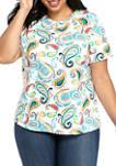 Plus Size Short Sleeve Mega Print T-Shirt