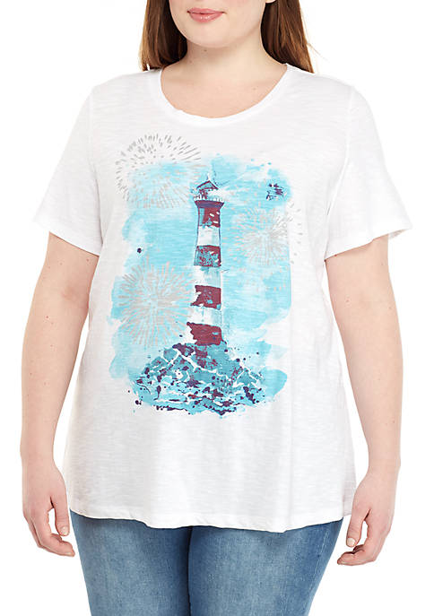 Kim Rogers® Plus Size Short Sleeve Lighthouse T