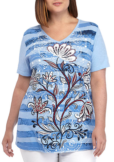 Kim Rogers® Plus Size Short Sleeve Bloom T