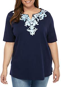 Kim Rogers® Plus Size Kurta Printed Short Sleeve Tunic