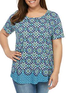 Kim Rogers® Plus Size Short Sleeve Medallion Tunic