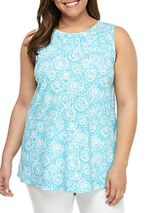16f04f8ede77 ... Kim Rogers® Plus Size Printed Pleated Tank