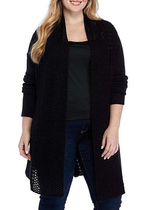 Kim Rogers® Plus Size Fan Stitch Long Cardigan