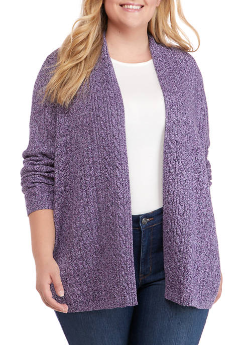 Kim Rogers® Plus Size Marled Cable Knit Cardigan