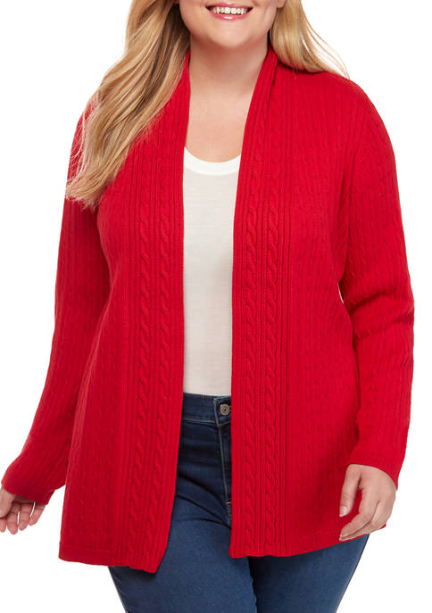 Kim Rogers® Plus Size Cable Knit Cardigan