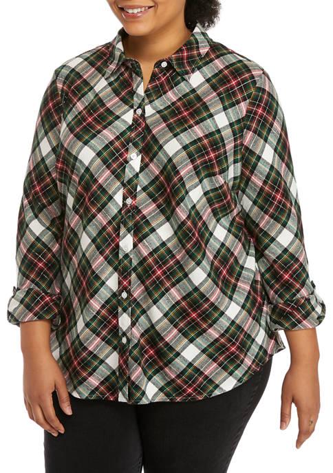 Kim Rogers® Plus Size Roll Tab Flannel Shirt