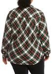 Plus Size Roll Tab Flannel Shirt