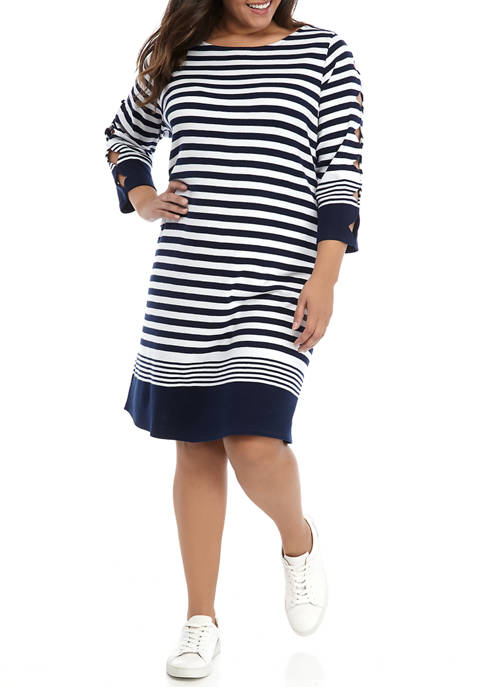 Kim Rogers® Plus Size 3/4 Scallop Sleeve Dress