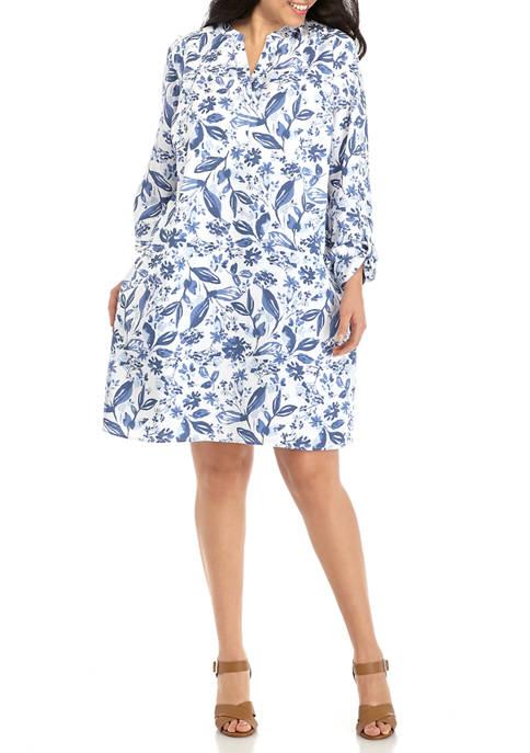 Plus Size Roll Tab Chambray Print Dress