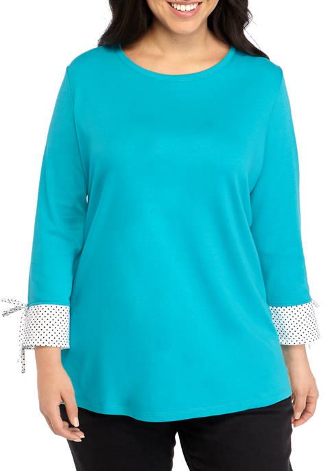 Kim Rogers® Plus Size 3/4 Sleeve Woven Cuff