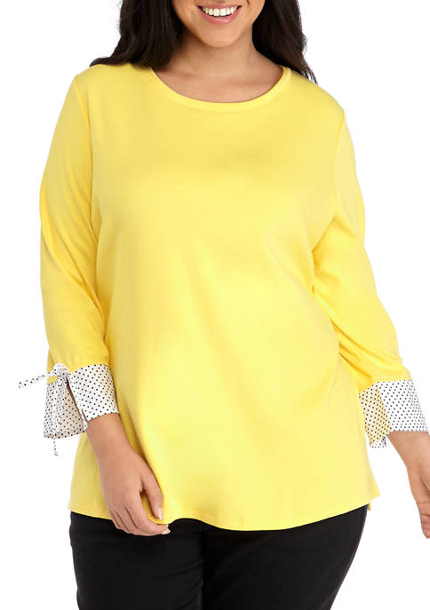 Plus Size 3/4 Sleeve Woven Cuff Top