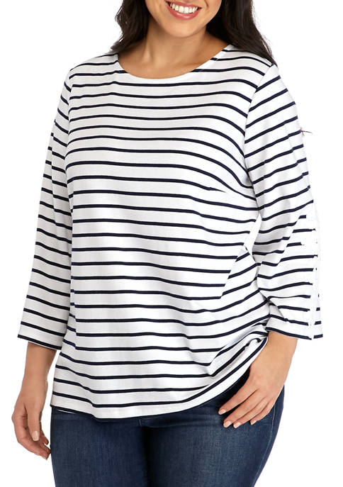Kim Rogers® Plus Size 3/4 Sleeve Top with