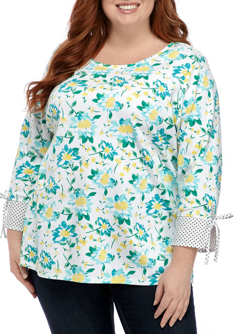 Plus Size 3/4 Cuff Sleeve Printed Woven Top