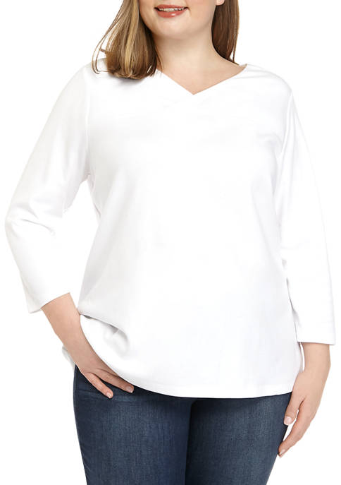 Plus Size 3/4 Sleeve Crossover V Neck Top