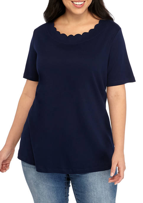 Plus Size Short Sleeve Scallop Neck Top