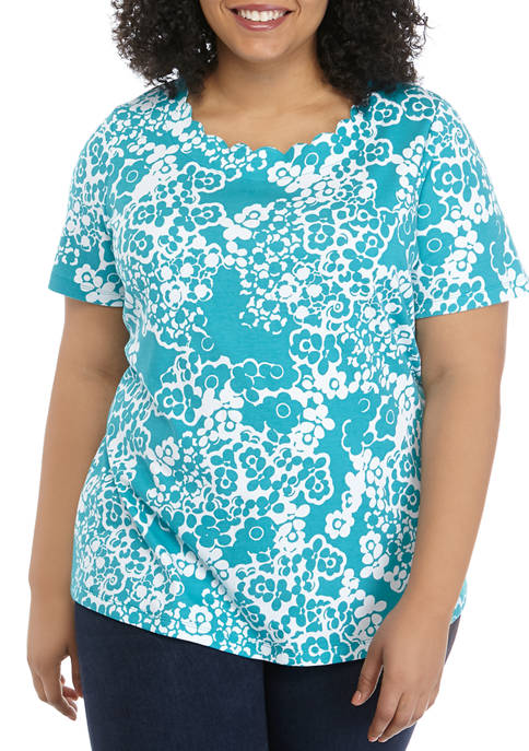 Kim Rogers® Plus Size Short Sleeve Scallop Neck