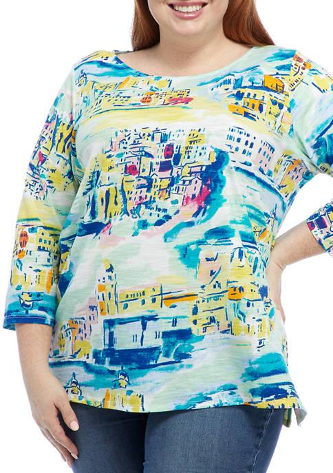 Kim Rogers® Plus Size 3/4 Sleeve Art T-Shirt
