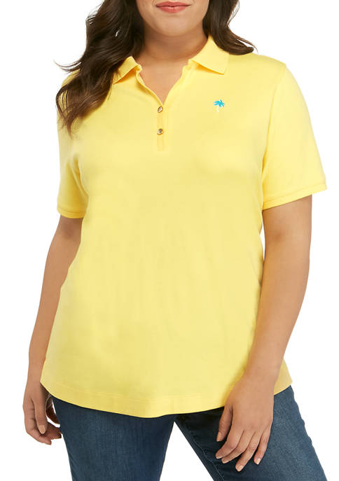 Plus Size Short Sleeve Embroidered Polo Shirt