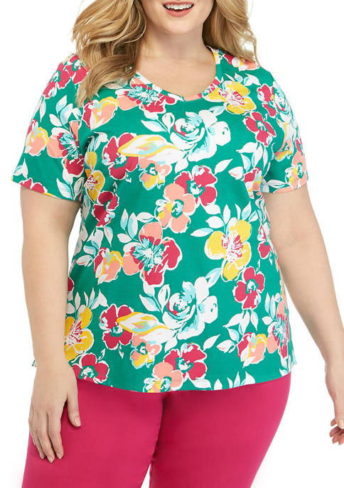 Plus Size Short Sleeve V Neck Printed Shirt