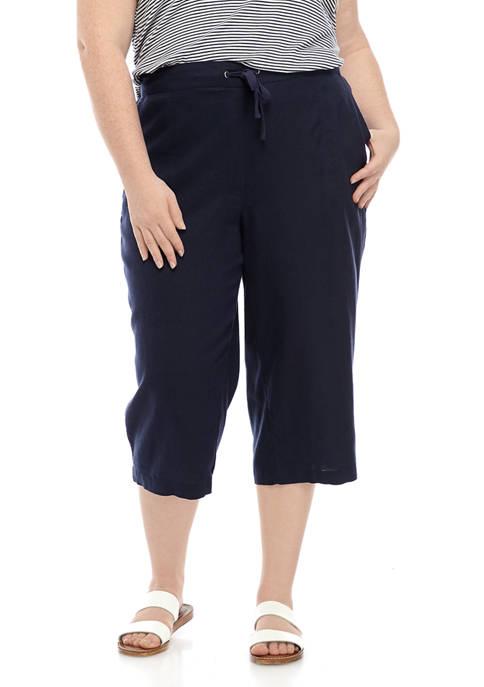 Plus Size Linen Capri Pants