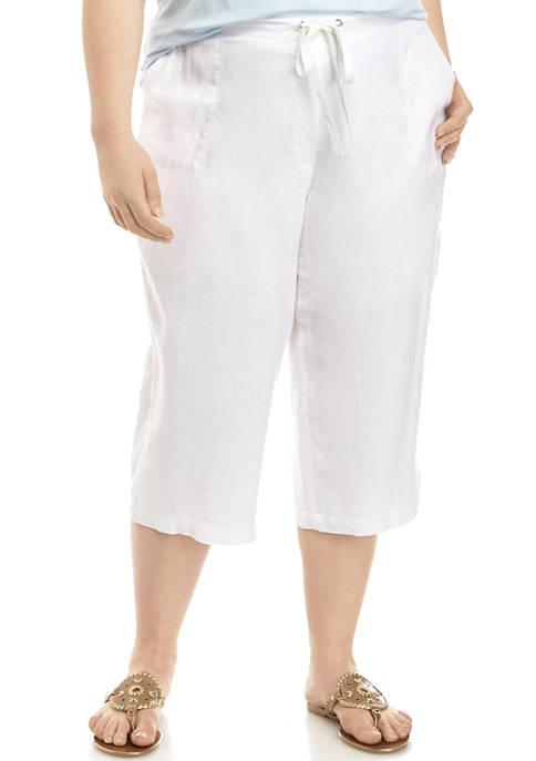 Plus Size Tie Linen Capri Pants