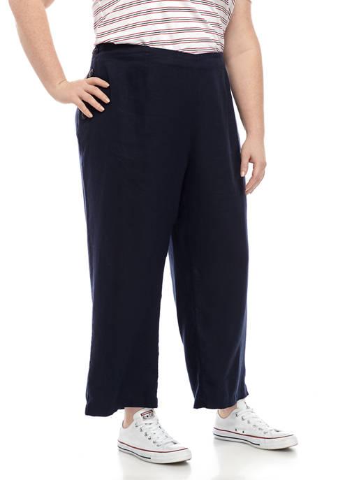 Plus Size Side Button Crop Pants