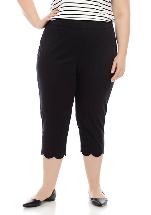 Kim Rogers® Plus Size Scallop Hem Capri Pants