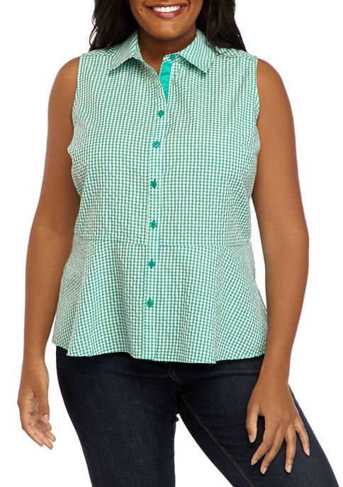Kim Rogers® Plus Size Sleeveless Woven Peplum Top