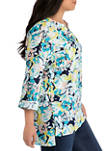 Plus Size Roll Tab High Low 2 Pocket Top