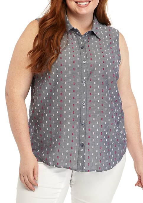 Kim Rogers® Plus Size Sleeveless Clip Dot Shirt