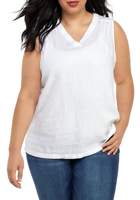 Kim Rogers® Plus Size Sleeveless Linen Popover Tunic