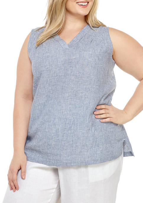 Kim Rogers® Plus Size Sleeveless Linen Popover Top