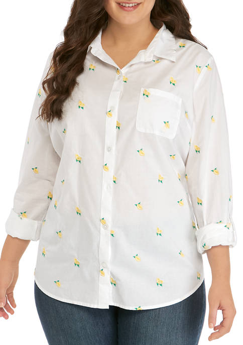 Kim Rogers® Plus Size Embroidered Lemon Top
