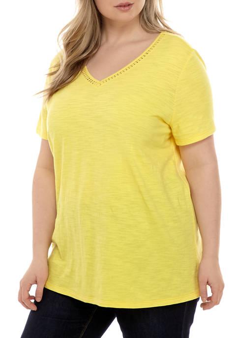 Kim Rogers® Plus Size Short Sleeve Crochet Tunic