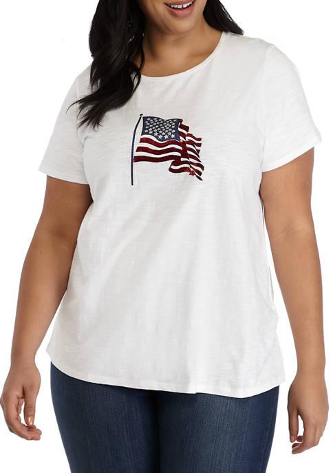 Kim Rogers® Plus Size Short Sleeve Embellished T-Shirt