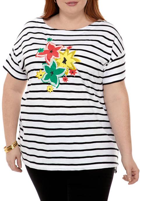 Kim Rogers® Plus Size Drop Shoulder Art T-Shirt