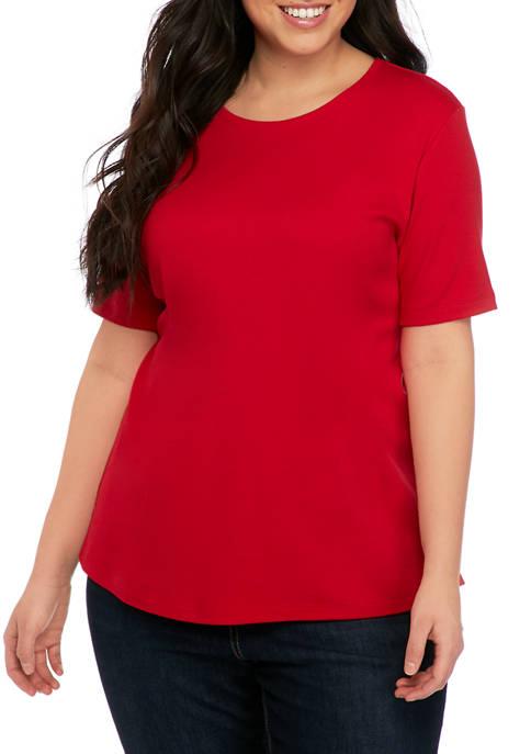 Plus Size Short Sleeve Crew Neck T-Shirt